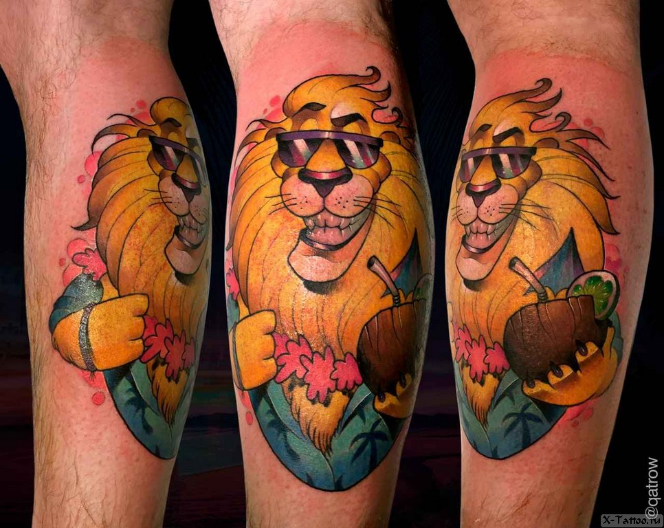 лев с коктейлем
