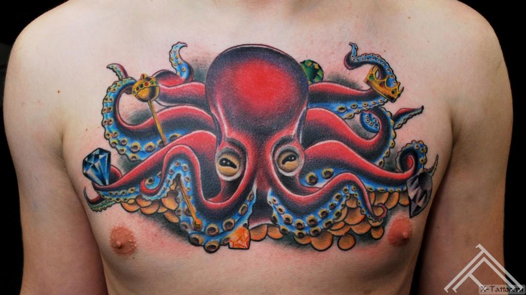 осьминог на груди