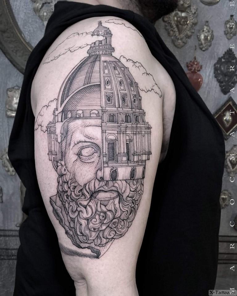 человек-дом на плече