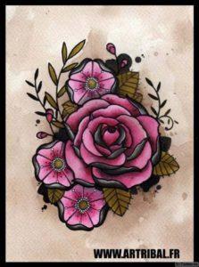 cherno rozovye tsvety
