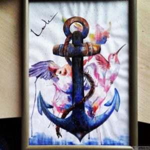 akvarel s ryboy i ptitsey