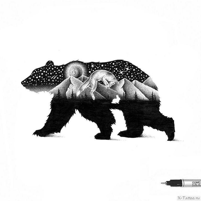 eskizy tatu medved