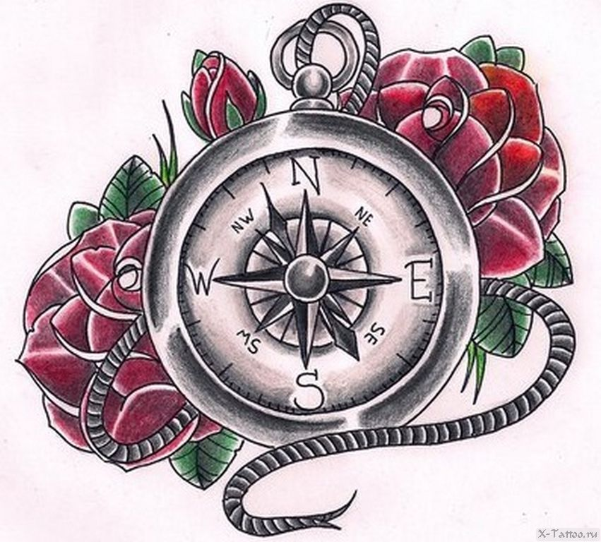 eskizy tatu kompas