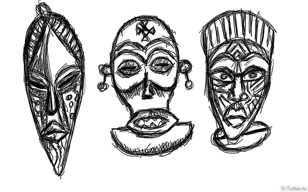 eskizy tatu maski