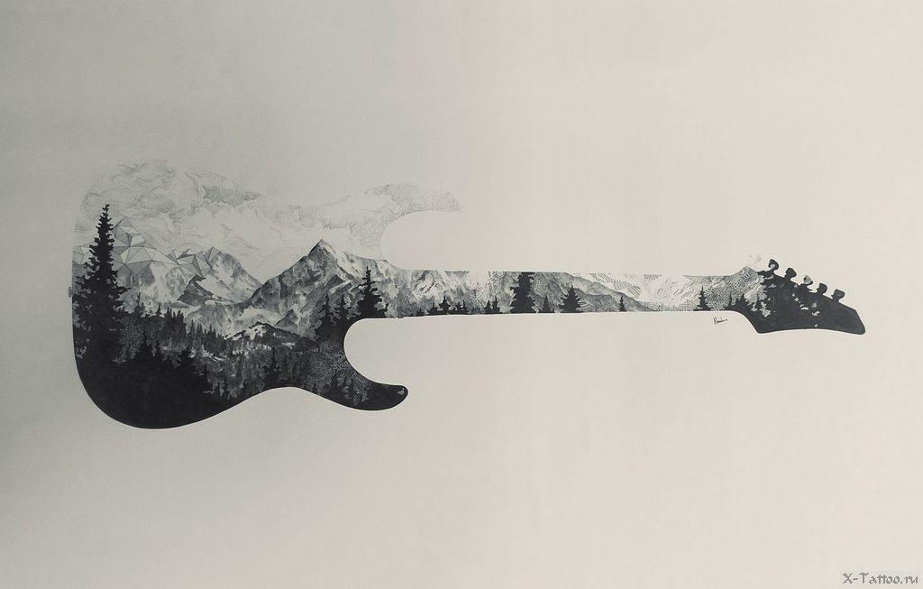 eskizy tatu gitara