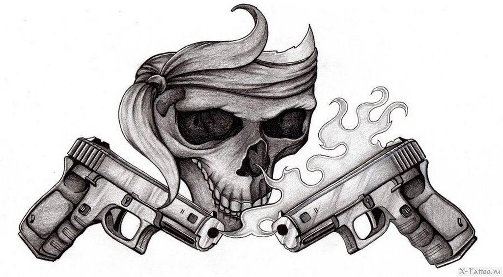 eskizy tatu pistolet